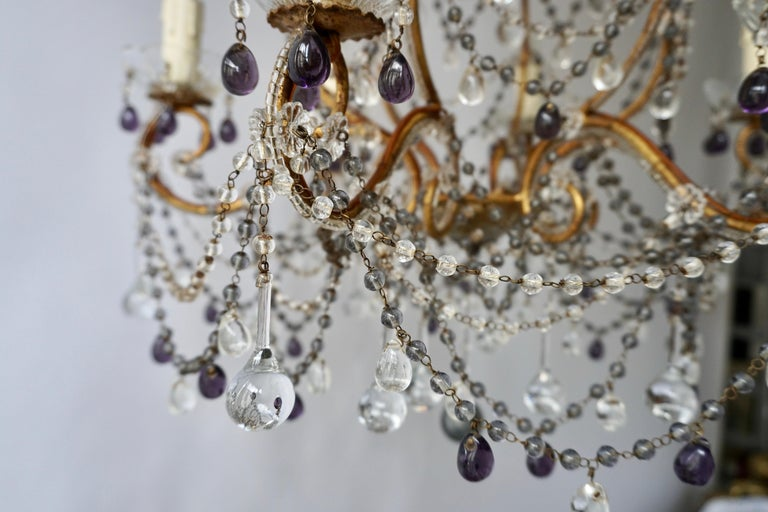 20th Century Fine Quality Victorian Chandelier with Purple Glass For Sale