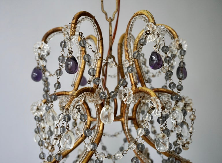 Brass Fine Quality Victorian Chandelier with Purple Glass For Sale