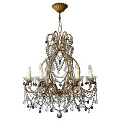 Fine Quality Victorian Chandelier with Purple Glass