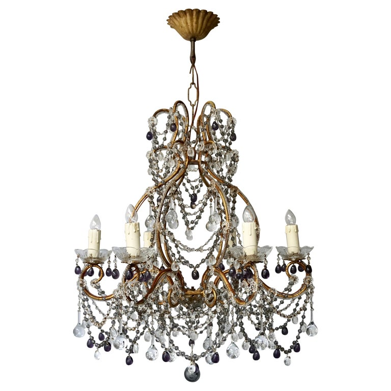 Fine Quality Victorian Chandelier with Purple Glass For Sale
