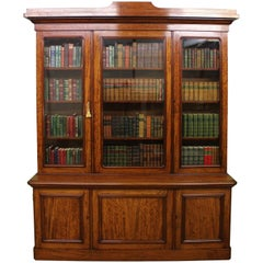 Fine Quality Victorian Figured Mahogany Library Bookcase