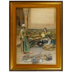 Fine Quality Watercolor Painting Depicting a Persian Scene by Gustavo Simoni