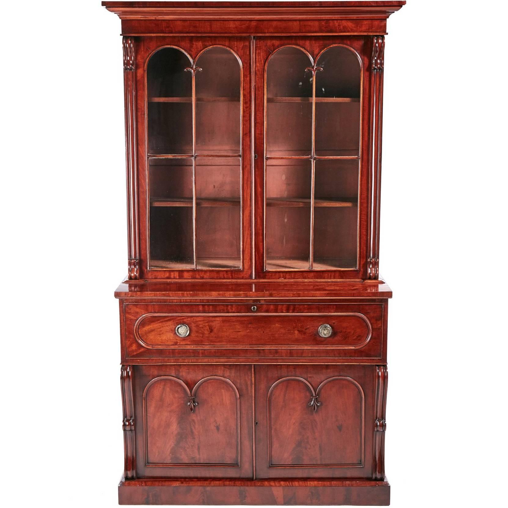 Antique Furniture Forceful Antique Bookcase In Solid Oak Circa 1900