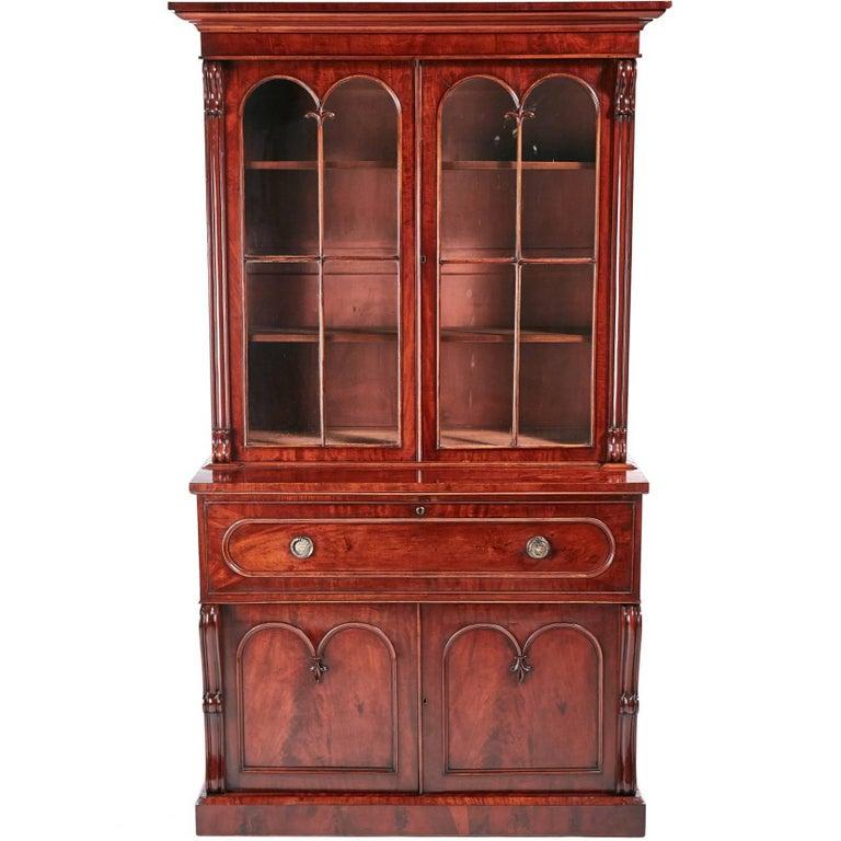 Fine Quality William IV Mahogany Secretaire Bookcase For
