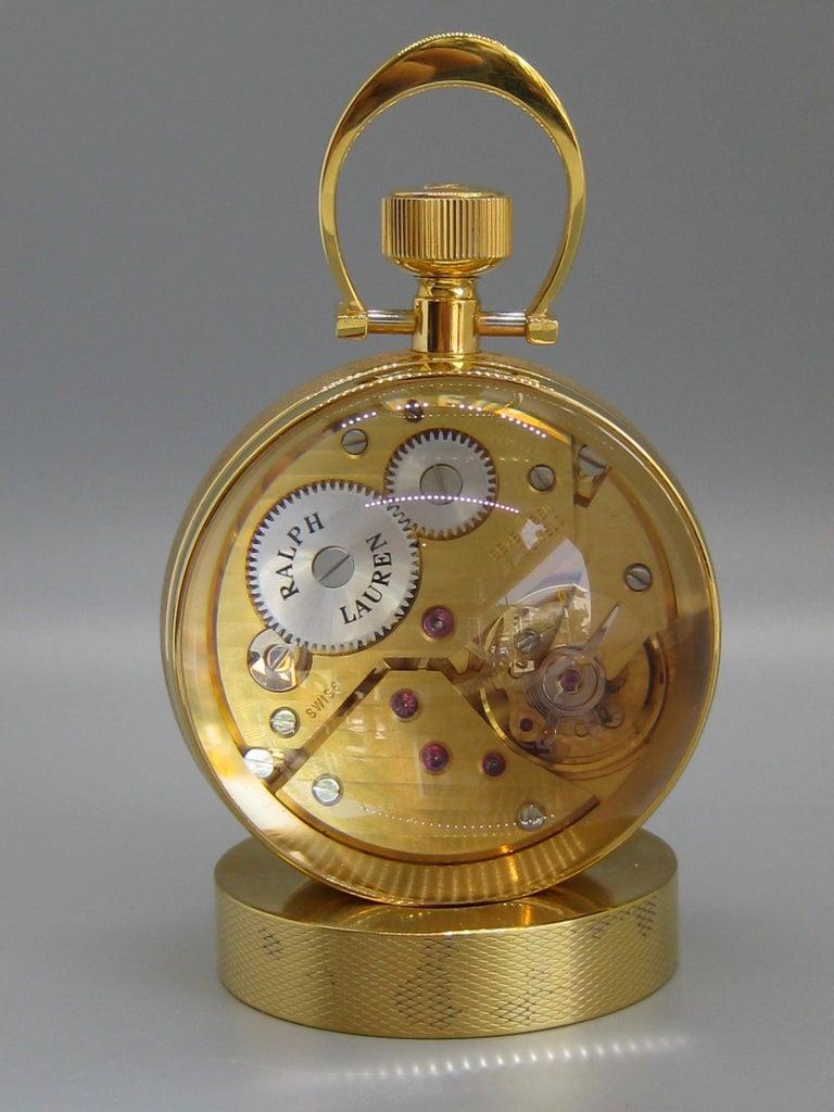 Fine Ralph Lauren Brass & Glass Ball Shaped Desk Clock w/Box & Stand Swiss Made For Sale 6