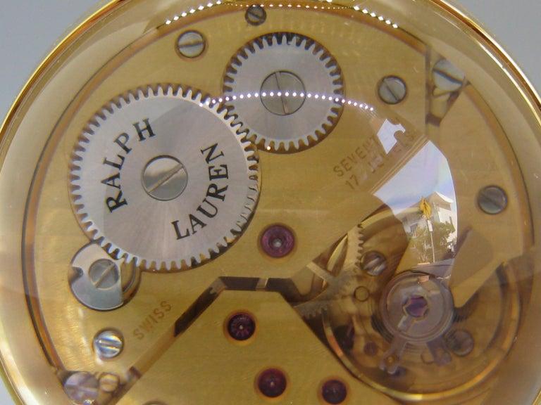 Fine Ralph Lauren Brass & Glass Ball Shaped Desk Clock w/Box & Stand Swiss Made For Sale 7