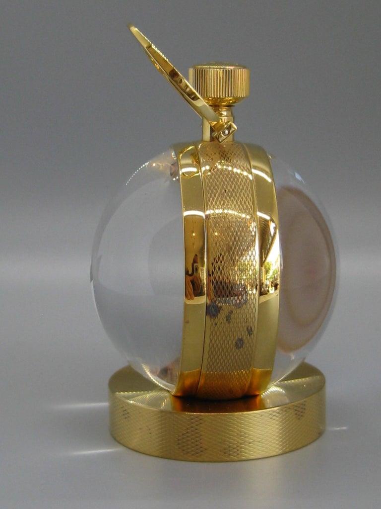 Fine Ralph Lauren Brass & Glass Ball Shaped Desk Clock w/Box & Stand Swiss Made For Sale 9