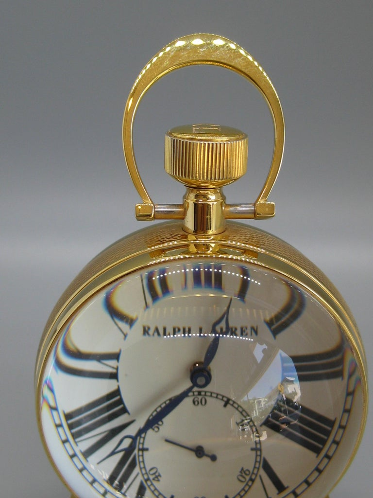 Fine Ralph Lauren Brass & Glass Ball Shaped Desk Clock w/Box & Stand Swiss Made In Excellent Condition For Sale In San Diego, CA