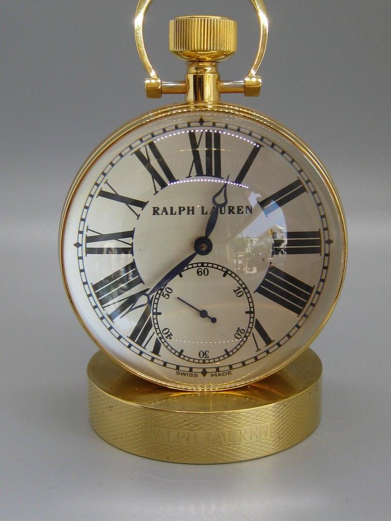 20th Century Fine Ralph Lauren Brass & Glass Ball Shaped Desk Clock w/Box & Stand Swiss Made For Sale