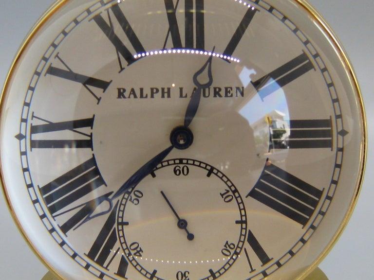 Fine Ralph Lauren Brass & Glass Ball Shaped Desk Clock w/Box & Stand Swiss Made For Sale 1
