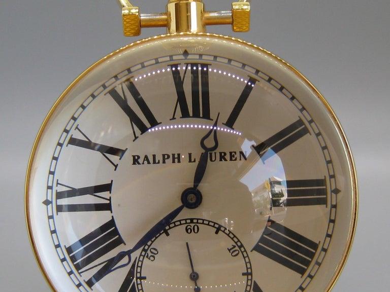 Fine Ralph Lauren Brass & Glass Ball Shaped Desk Clock w/Box & Stand Swiss Made For Sale 2