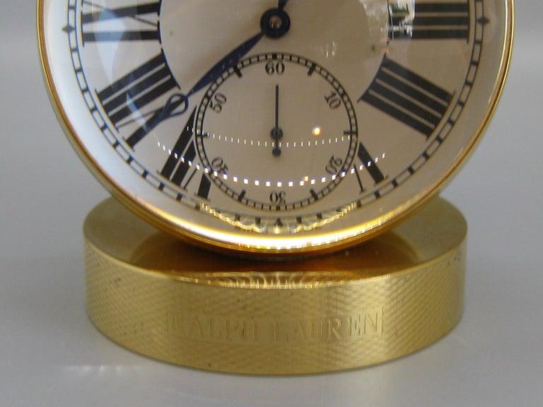 Fine Ralph Lauren Brass & Glass Ball Shaped Desk Clock w/Box & Stand Swiss Made For Sale 3