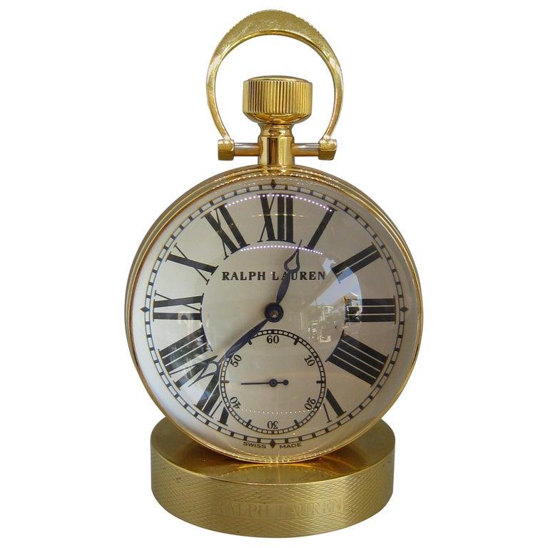 Fine Ralph Lauren Brass & Glass Ball Shaped Desk Clock w/Box & Stand Swiss Made For Sale