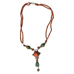 Fine Rare Antique Tribal Coral and Turquoise Necklace Yunnan Tibet