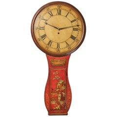 Fine Red Japaned and Chinoiserie Decorated Late 18th Century Tavern Clock