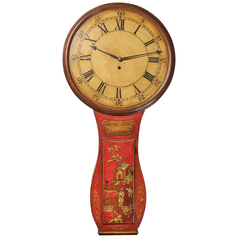 Fine Red Japaned and Chinoiserie Decorated Late 18th Century Tavern Clock For Sale