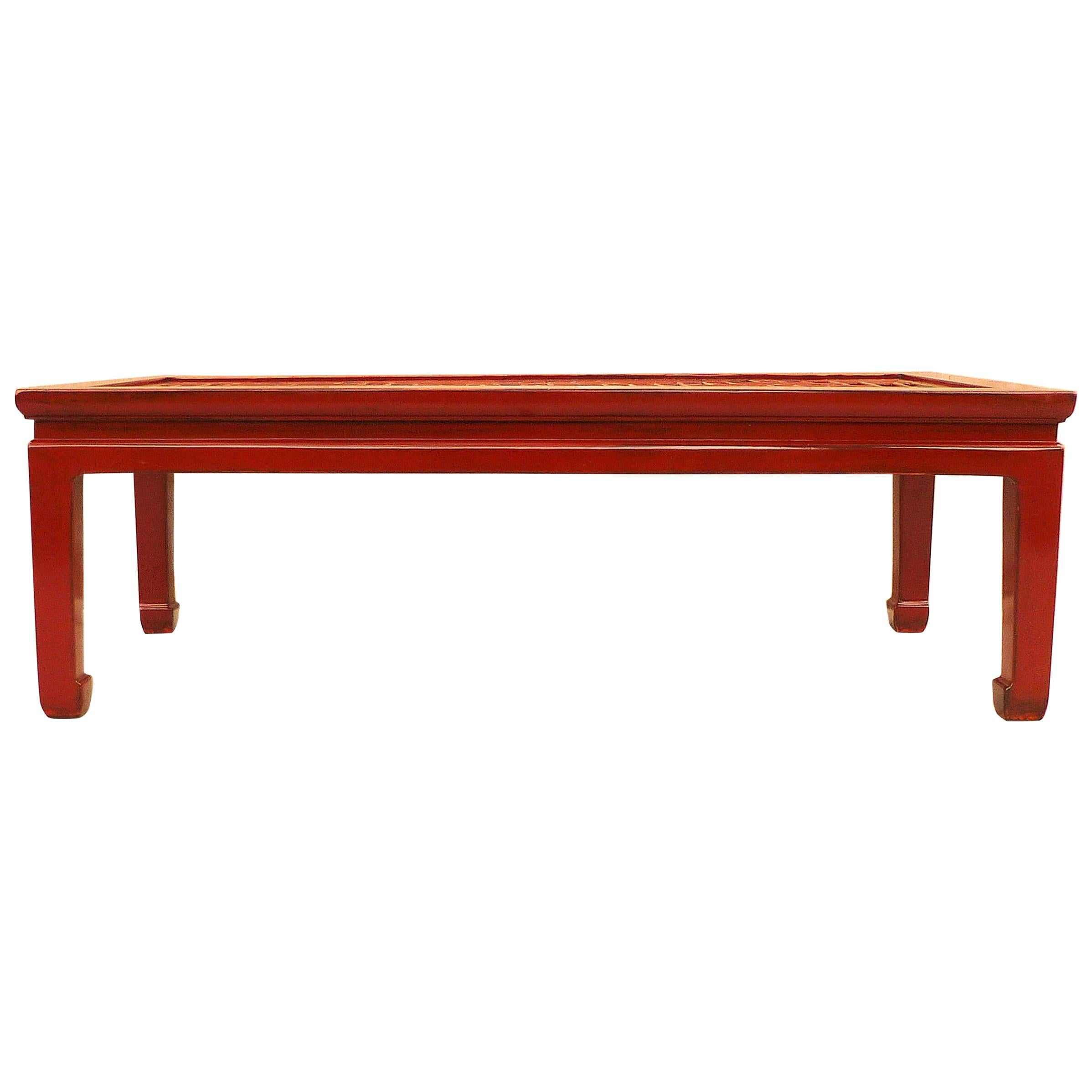 Fine Red Lacquer Low Table with Fret Work Top