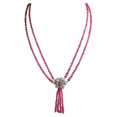 Fine Red Spinel and Diamond Ruby Lariat Tassel Necklace in 14 Karat White Gold