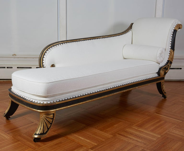 19th Century Fine Regency Black Painted and Gilt Daybed in the Manner of George Smith For Sale