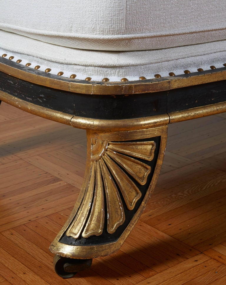 Giltwood Fine Regency Black Painted and Gilt Daybed in the Manner of George Smith For Sale