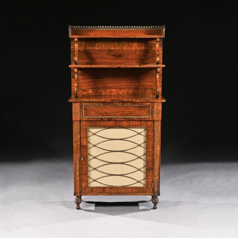 British Fine Regency Brass Inlaid Rosewood Chiffonier of Narrow Proportions For Sale