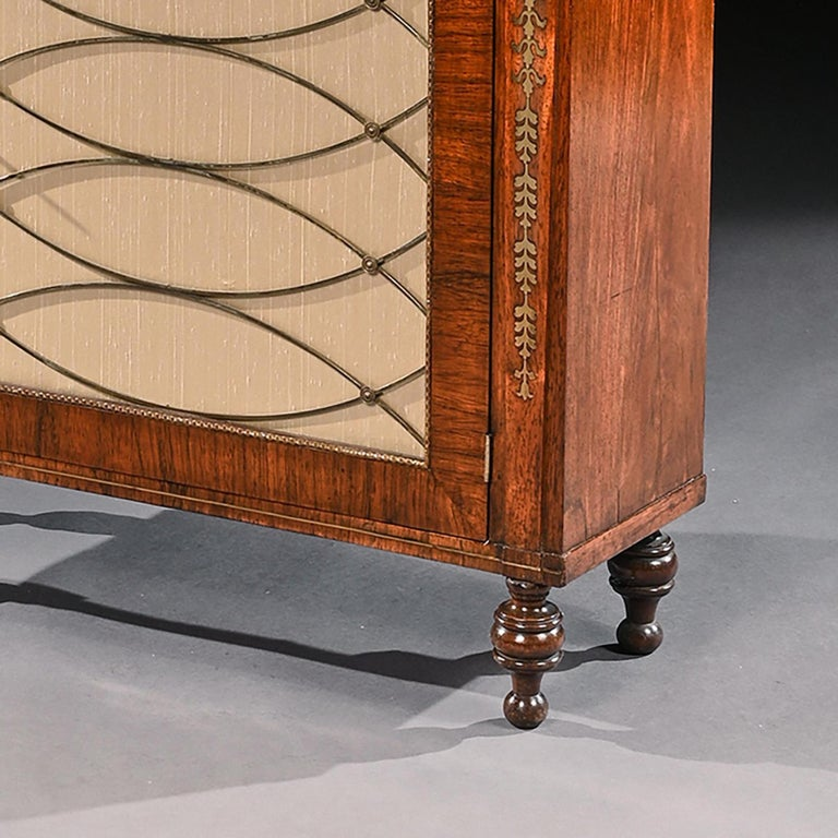 Fine Regency Brass Inlaid Rosewood Chiffonier of Narrow Proportions In Good Condition For Sale In Benington, Herts