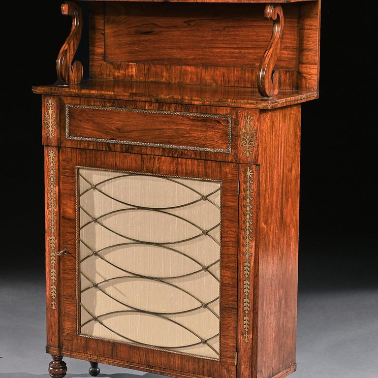 19th Century Fine Regency Brass Inlaid Rosewood Chiffonier of Narrow Proportions For Sale