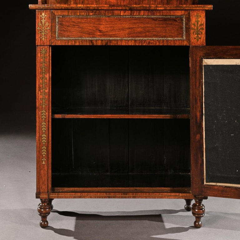 Fine Regency Brass Inlaid Rosewood Chiffonier of Narrow Proportions For Sale 1