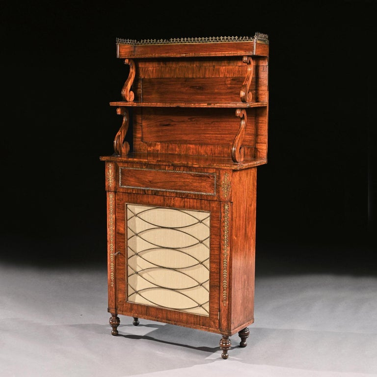 Fine Regency Brass Inlaid Rosewood Chiffonier of Narrow Proportions For Sale 2