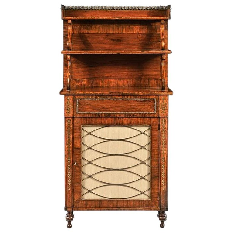 Fine Regency Brass Inlaid Rosewood Chiffonier of Narrow Proportions For Sale