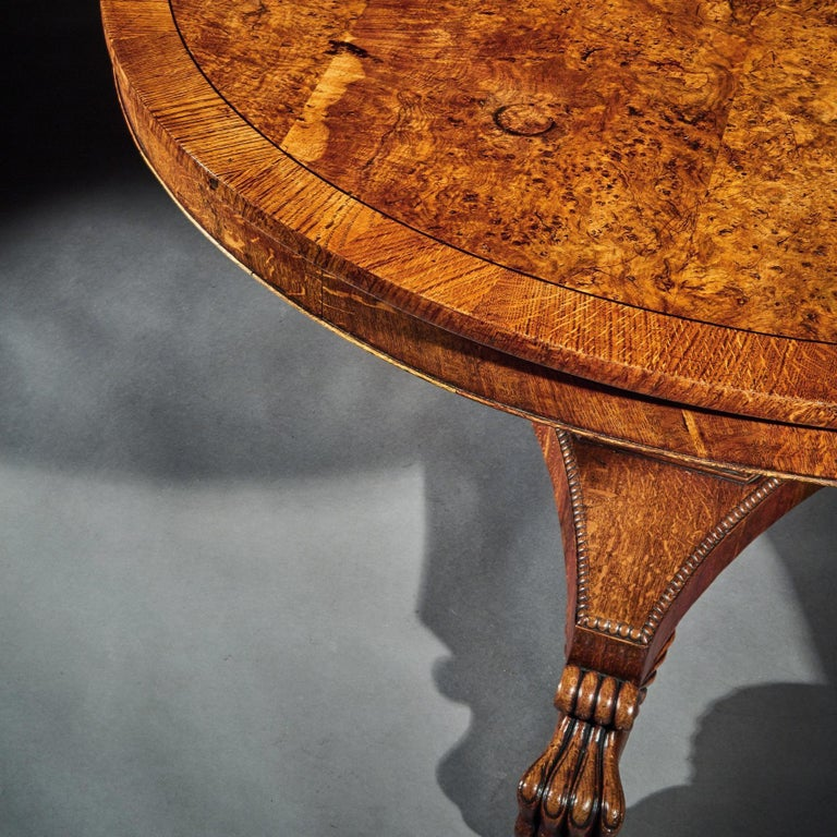 British Fine Regency Burr Oak Tilt-Top Table For Sale