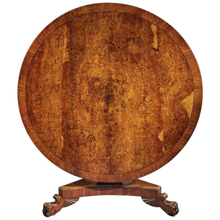 Fine Regency Burr Oak Tilt-Top Table For Sale