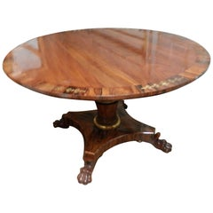 Fine Regency English 19th Century Mahogany and Brass Inlayed Center Table