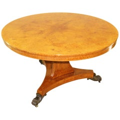 Fine Regency English Amboyna Centre Table
