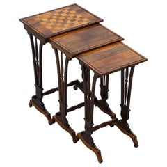 Fine Regency Nest of Hardwood Tables with Chessboard Top Attributed to Gillows
