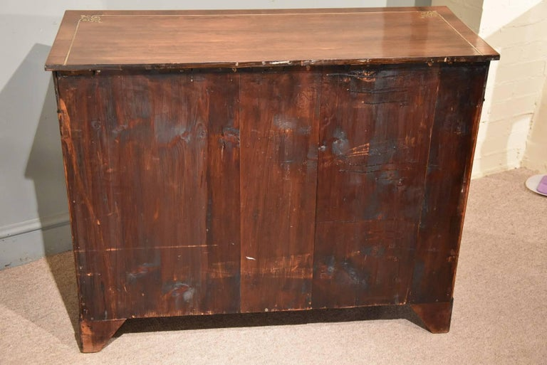 Fine Regency Period Rosewood Brass Inlaid Side Cabinet by Pitcher For Sale 5