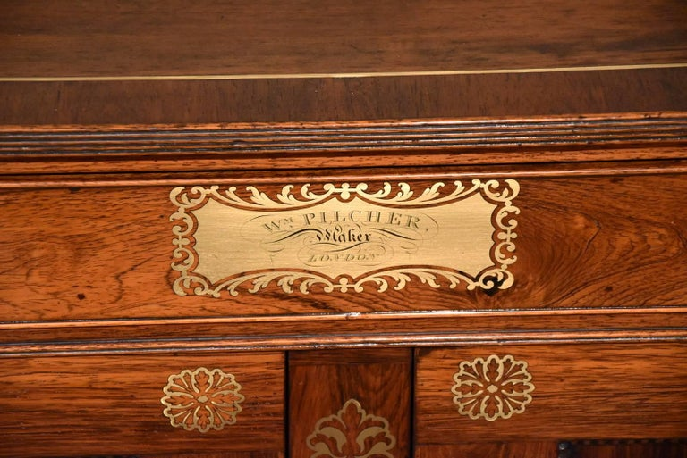 19th Century Fine Regency Period Rosewood Brass Inlaid Side Cabinet by Pitcher For Sale