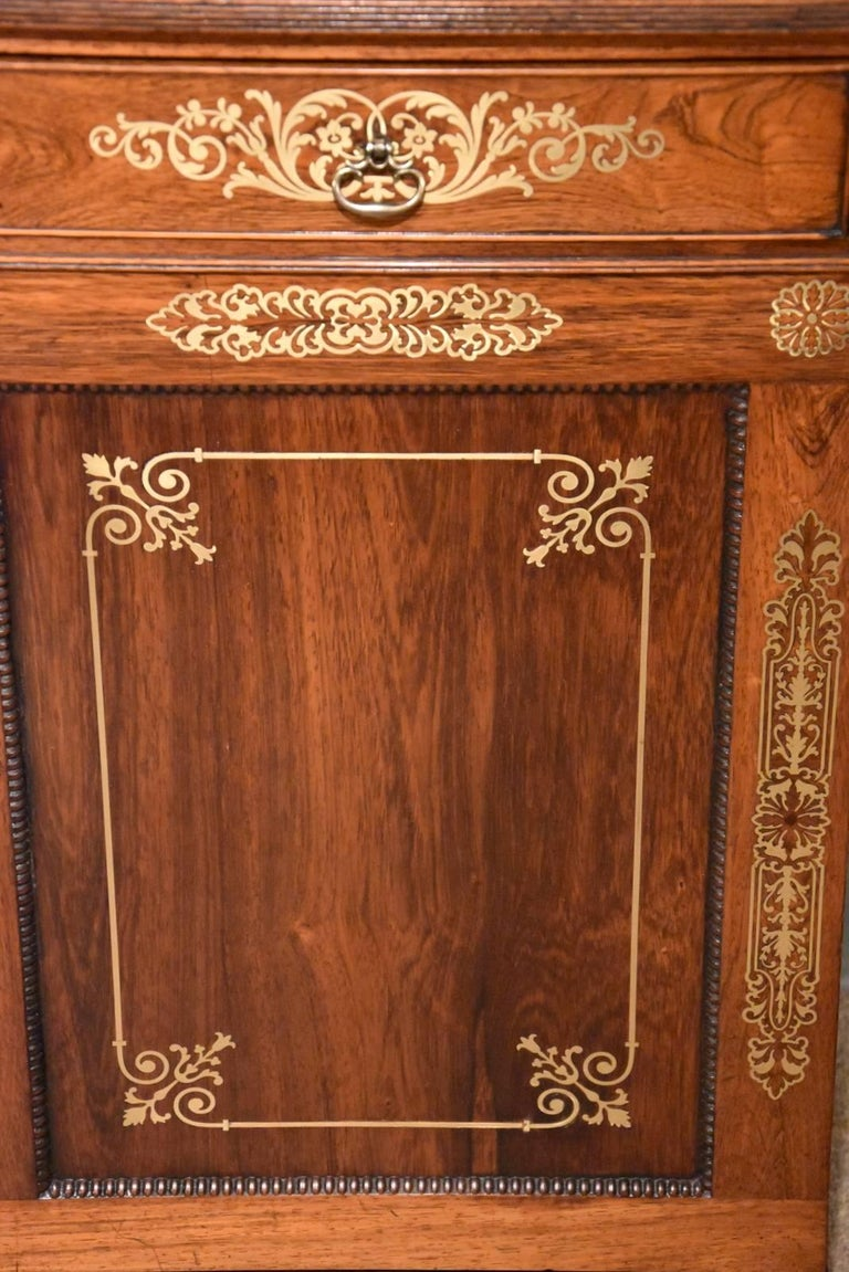 Fine Regency Period Rosewood Brass Inlaid Side Cabinet by Pitcher For Sale 2