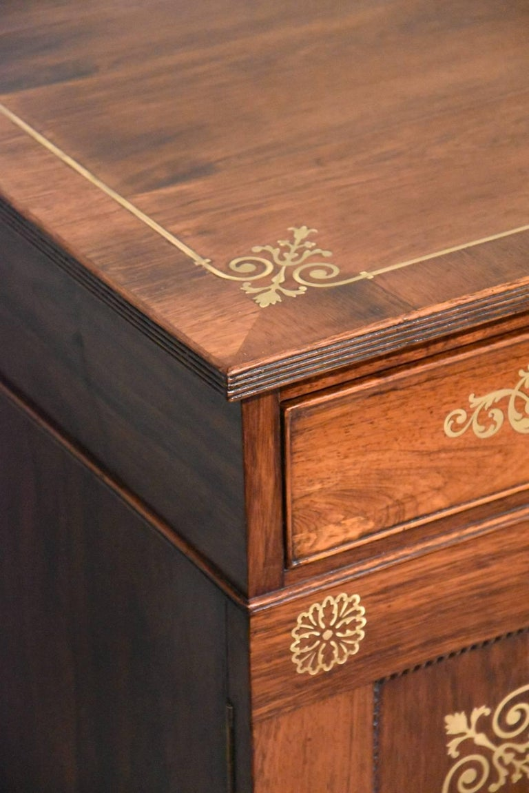 Fine Regency Period Rosewood Brass Inlaid Side Cabinet by Pitcher For Sale 3