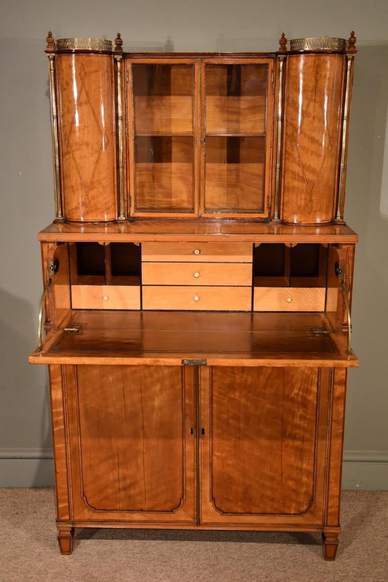 English Fine Regency Satinwood Secretaire Cabinet For Sale