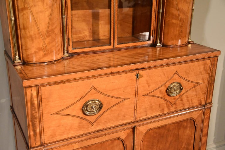 Fine Regency Satinwood Secretaire Cabinet For Sale 2
