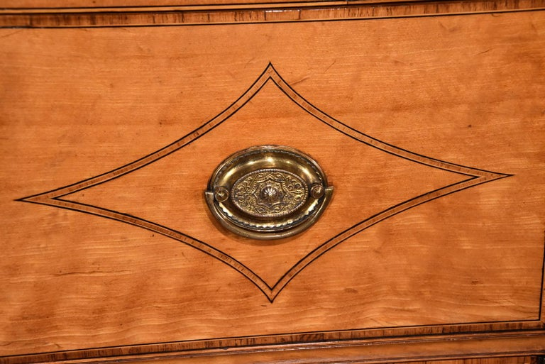 Fine Regency Satinwood Secretaire Cabinet For Sale 3