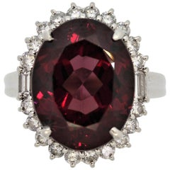 Fine Rhodolite Garnet Diamond Platinum Ring