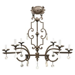 Fine Rock Crystal Elongated Oblong Chandelier