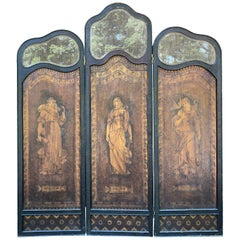 "Fine Romantic Hand Decorated ""Truth, Wisdom, & Peace"" Arts & Crafts Wood Screen"