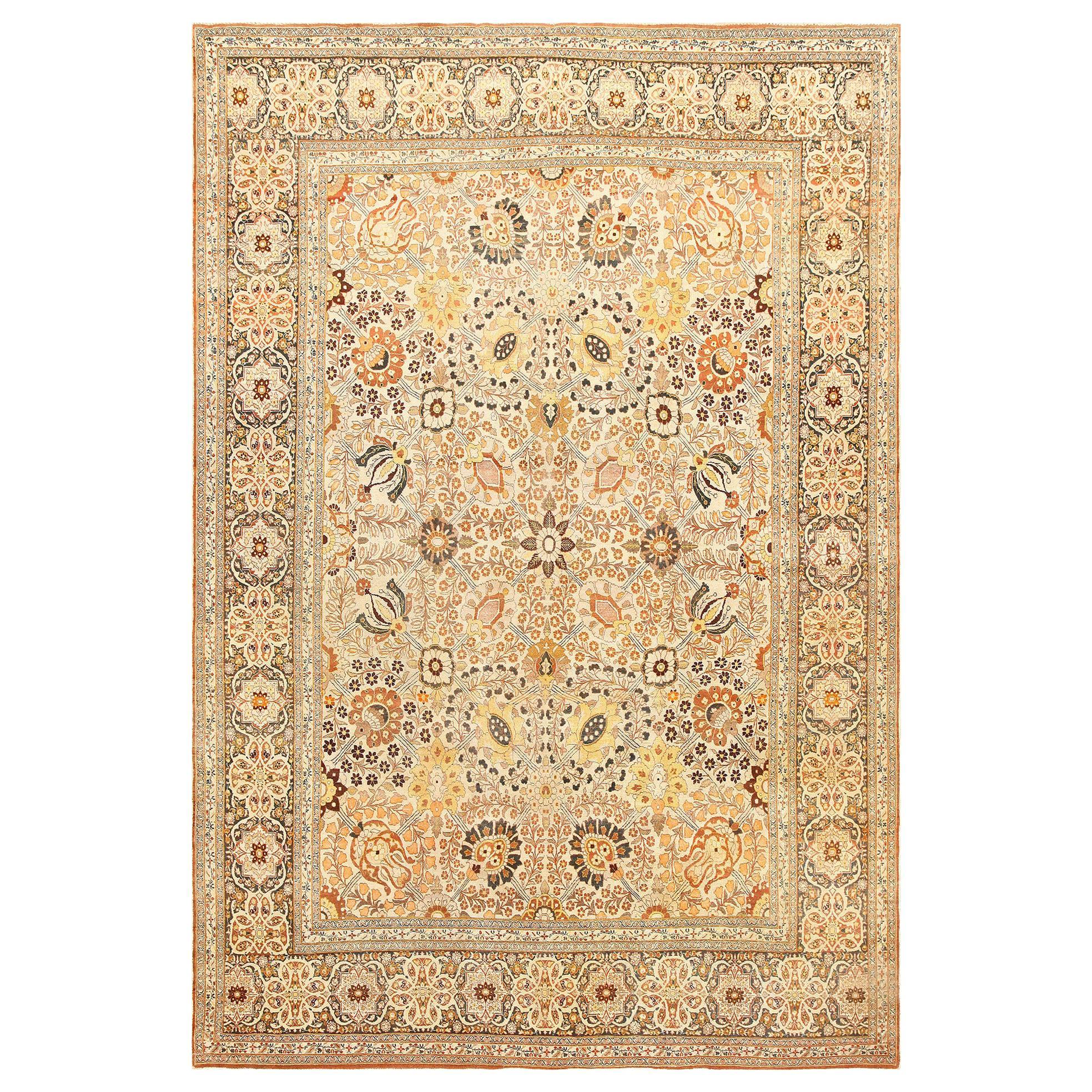 "Fine Room Size Antique Persian Haji Jalili Tabriz Rug. Size: 9' 3"" x 13' 6"""