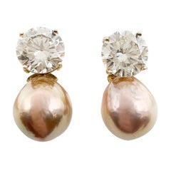 Fine Rose Gold Colored Pearls & Stone Pendant Earrings