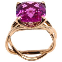 Fine Rubelite 18 Karat Red Gold Ring