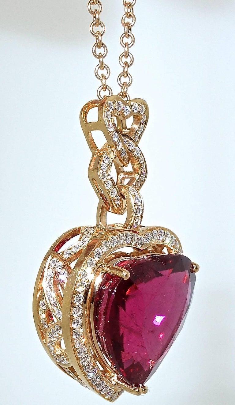 Contemporary Fine Rubelite and Diamond Pendant Necklace For Sale