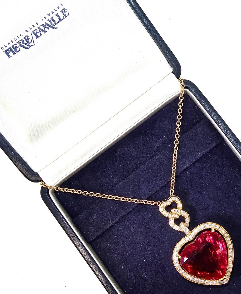 Fine Rubelite and Diamond Pendant Necklace In Excellent Condition For Sale In Aspen, CO